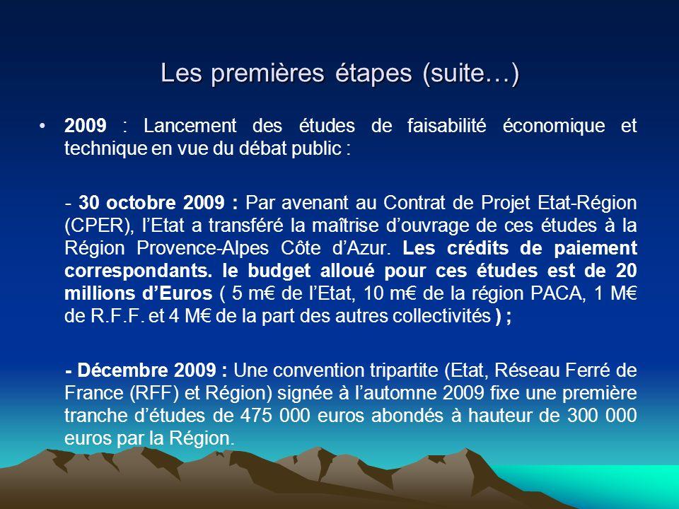 Les premières étapes (suite…) 2009 : Lancement des études de faisabilité économique et technique en vue du débat public : - 30 octobre 2009 : Par aven