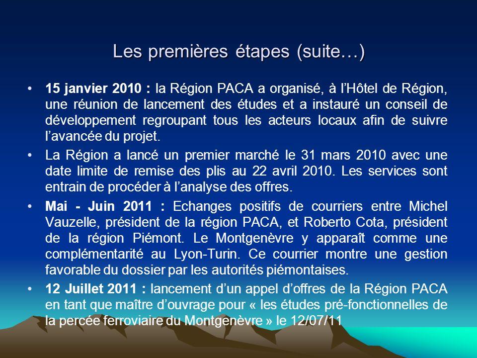 Les premières étapes (suite…) 15 janvier 2010 : la Région PACA a organisé, à lHôtel de Région, une réunion de lancement des études et a instauré un conseil de développement regroupant tous les acteurs locaux afin de suivre lavancée du projet.