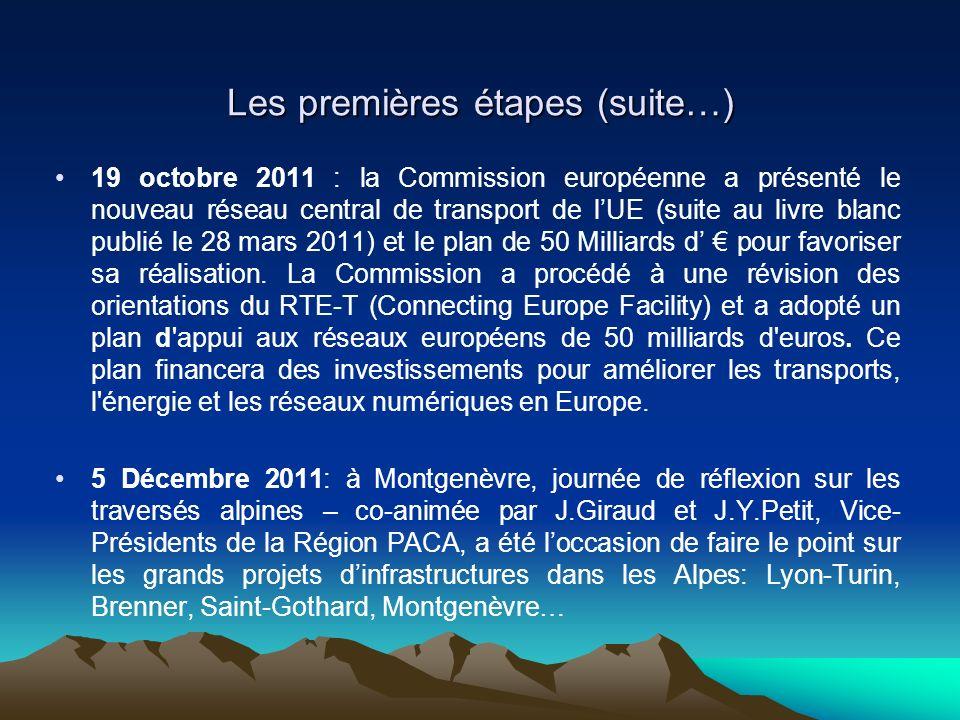 Les premières étapes (suite…) 19 octobre 2011 : la Commission européenne a présenté le nouveau réseau central de transport de lUE (suite au livre blanc publié le 28 mars 2011) et le plan de 50 Milliards d pour favoriser sa réalisation.