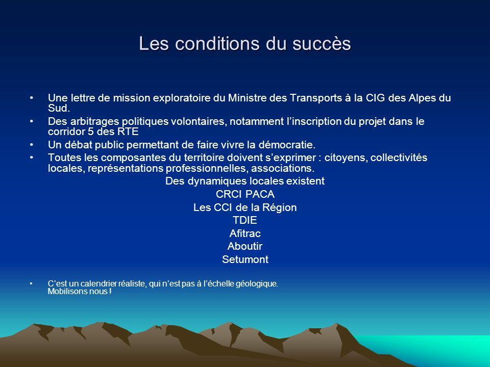 Les conditions du succès Une lettre de mission exploratoire du Ministre des Transports à la CIG des Alpes du Sud. Des arbitrages politiques volontaire