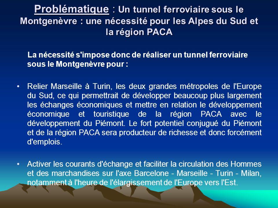 La nécessité s'impose donc de réaliser un tunnel ferroviaire sous le Montgenèvre pour : Relier Marseille à Turin, les deux grandes métropoles de l'Eur