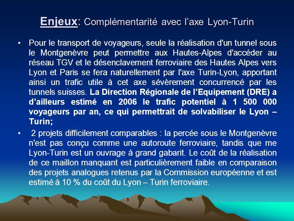 Pour le transport de voyageurs, seule la réalisation d un tunnel sous le Montgenèvre peut permettre aux Hautes-Alpes d accéder au réseau TGV et le désenclavement ferroviaire des Hautes Alpes vers Lyon et Paris se fera naturellement par l axe Turin-Lyon, apportant ainsi un trafic utile à cet axe sévèrement concurrencé par les tunnels suisses.