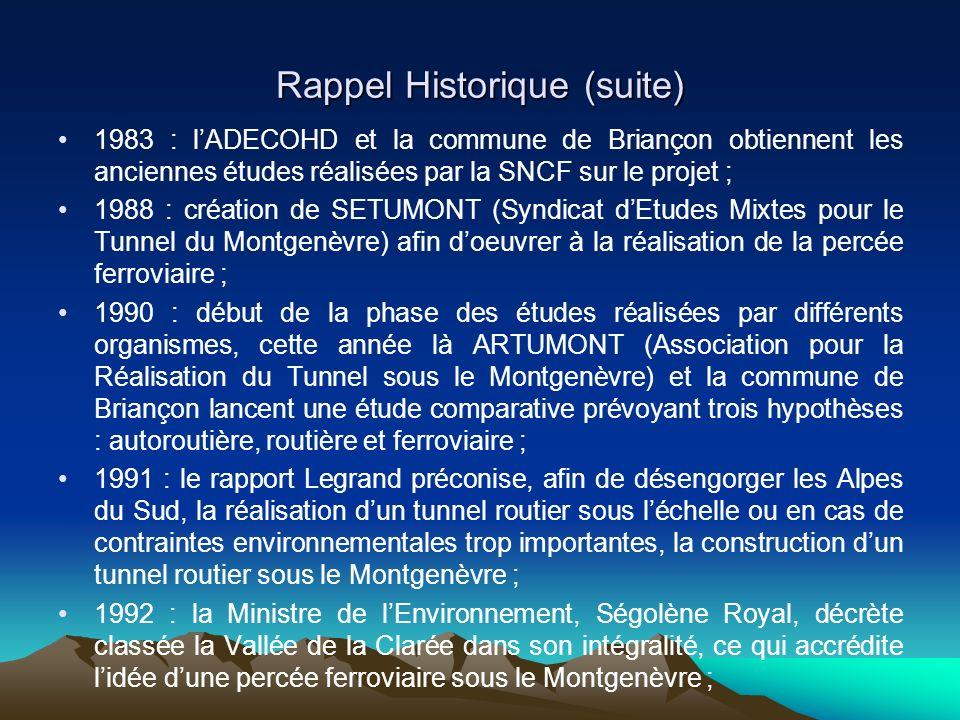 Rappel Historique (suite) 1983 : lADECOHD et la commune de Briançon obtiennent les anciennes études réalisées par la SNCF sur le projet ; 1988 : créat