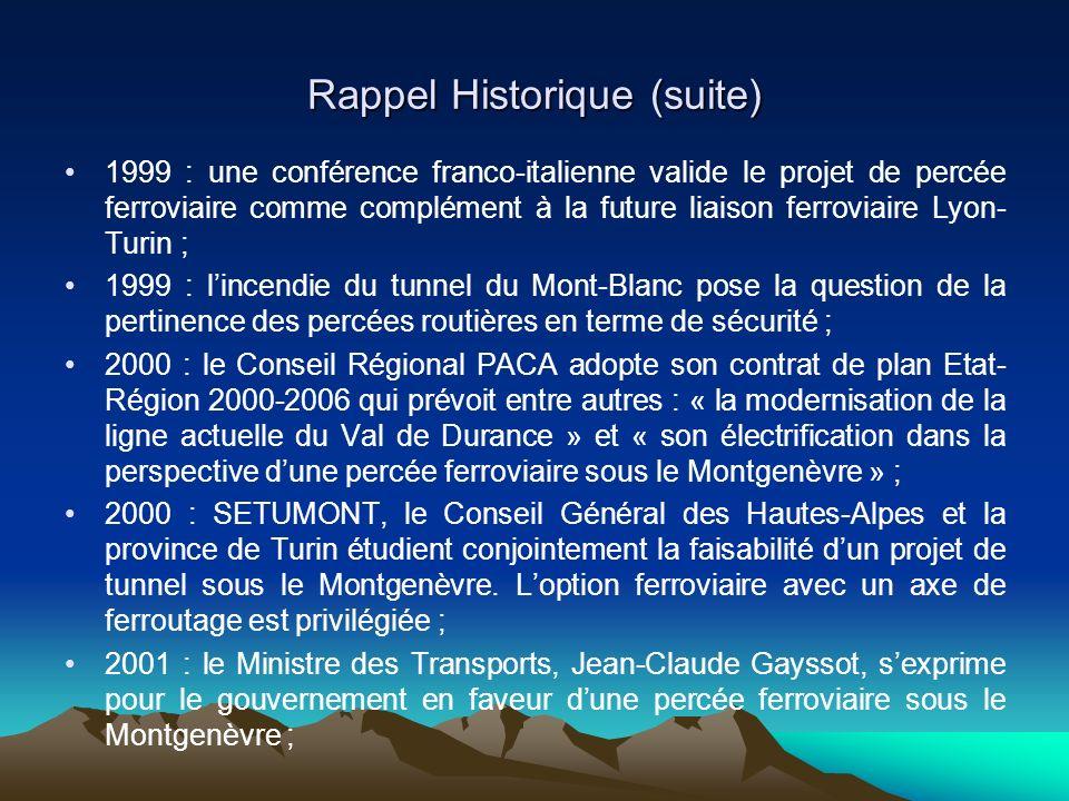 Rappel Historique (suite) 1999 : une conférence franco-italienne valide le projet de percée ferroviaire comme complément à la future liaison ferroviaire Lyon- Turin ; 1999 : lincendie du tunnel du Mont-Blanc pose la question de la pertinence des percées routières en terme de sécurité ; 2000 : le Conseil Régional PACA adopte son contrat de plan Etat- Région 2000-2006 qui prévoit entre autres : « la modernisation de la ligne actuelle du Val de Durance » et « son électrification dans la perspective dune percée ferroviaire sous le Montgenèvre » ; 2000 : SETUMONT, le Conseil Général des Hautes-Alpes et la province de Turin étudient conjointement la faisabilité dun projet de tunnel sous le Montgenèvre.