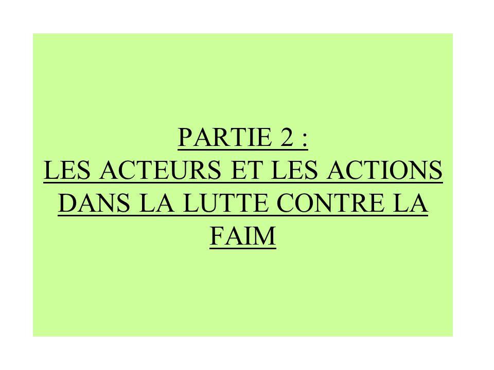 PARTIE 2 : LES ACTEURS ET LES ACTIONS DANS LA LUTTE CONTRE LA FAIM