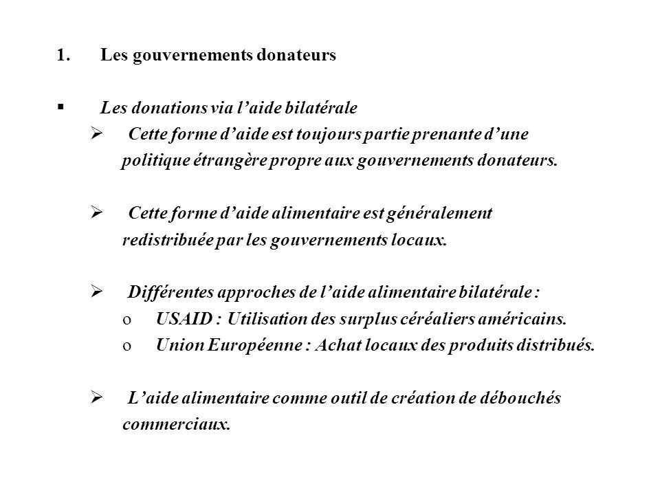 1.Les gouvernements donateurs Les donations via laide bilatérale Cette forme daide est toujours partie prenante dune politique étrangère propre aux go