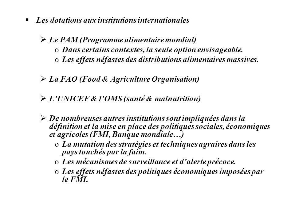 Les dotations aux institutions internationales Le PAM (Programme alimentaire mondial) oDans certains contextes, la seule option envisageable. oLes eff