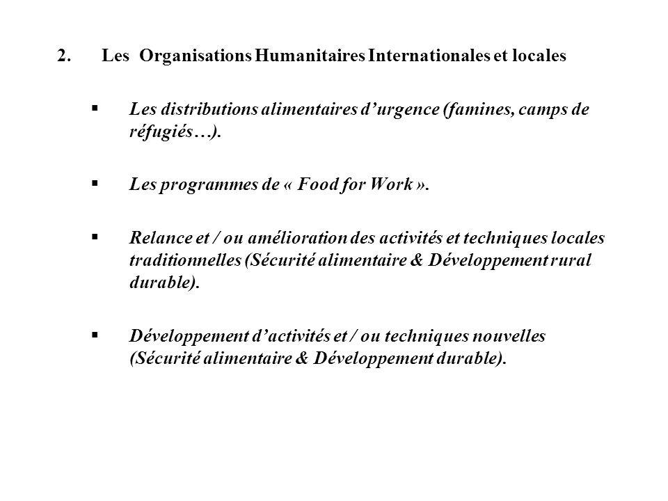 2.Les Organisations Humanitaires Internationales et locales Les distributions alimentaires durgence (famines, camps de réfugiés…). Les programmes de «