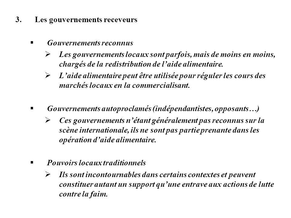 3.Les gouvernements receveurs Gouvernements reconnus Les gouvernements locaux sont parfois, mais de moins en moins, chargés de la redistribution de la