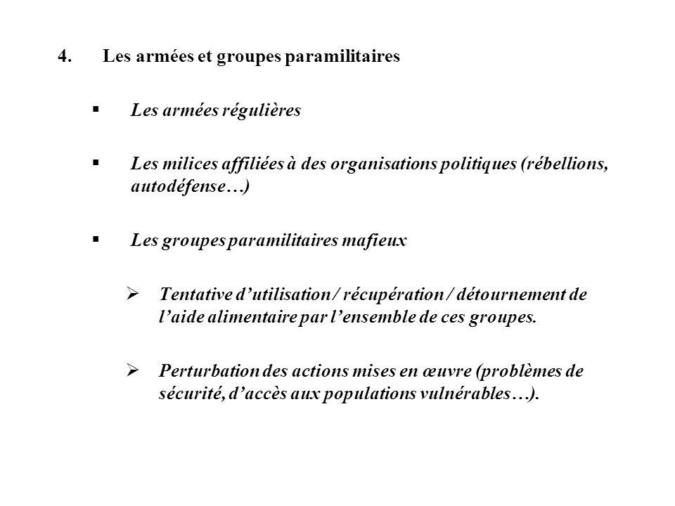 4.Les armées et groupes paramilitaires Les armées régulières Les milices affiliées à des organisations politiques (rébellions, autodéfense…) Les group