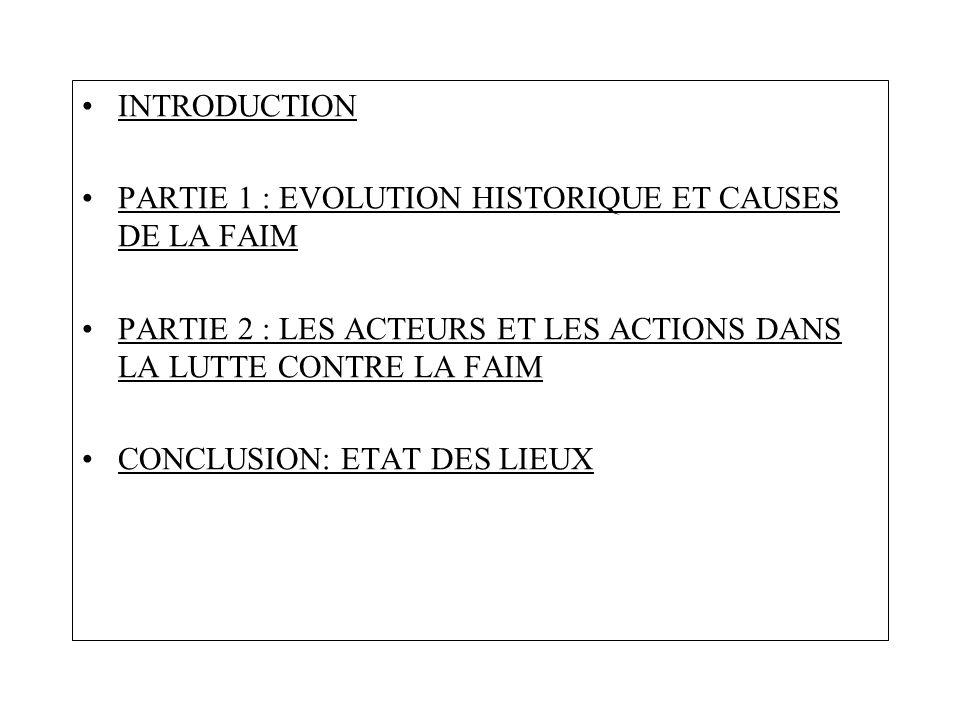 INTRODUCTION PARTIE 1 : EVOLUTION HISTORIQUE ET CAUSES DE LA FAIM PARTIE 2 : LES ACTEURS ET LES ACTIONS DANS LA LUTTE CONTRE LA FAIM CONCLUSION: ETAT