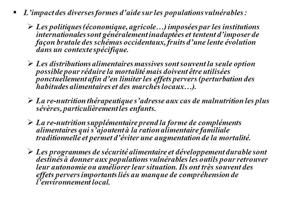 Limpact des diverses formes daide sur les populations vulnérables : Les politiques (économique, agricole…) imposées par les institutions international