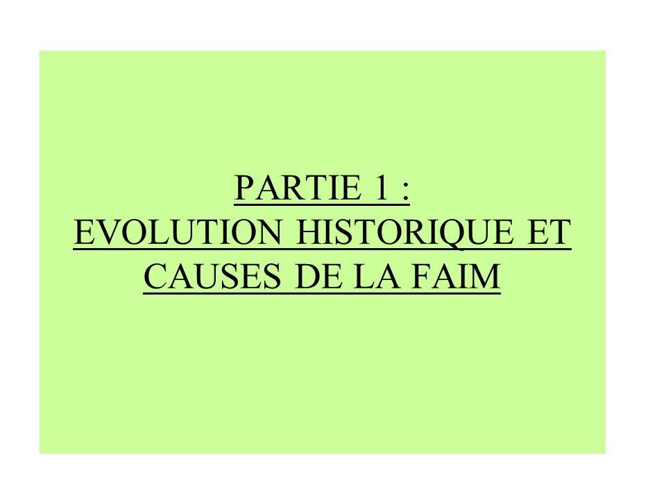PARTIE 1 : EVOLUTION HISTORIQUE ET CAUSES DE LA FAIM