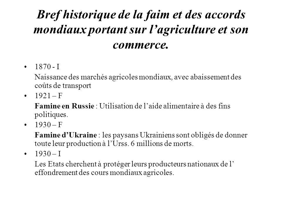 Bref historique de la faim et des accords mondiaux portant sur lagriculture et son commerce. 1870 - I Naissance des marchés agricoles mondiaux, avec a