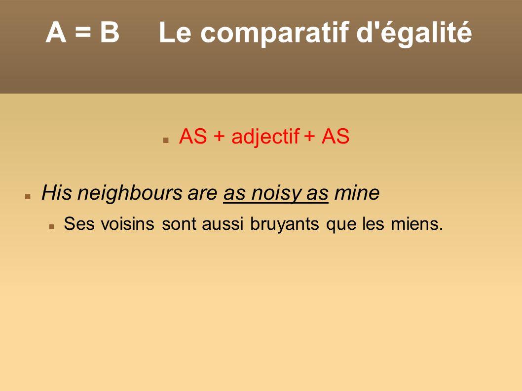 A = B Le comparatif d'égalité AS + adjectif + AS His neighbours are as noisy as mine Ses voisins sont aussi bruyants que les miens.