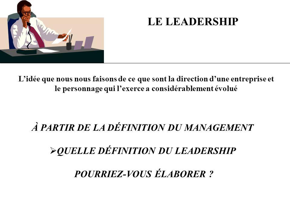 LE LEADERSHIP PEUT ÊTRE DÉFINI COMME … LA CAPACITÉ DINFLUENCER DAUTRES PERSONNES EN VUE DATTEINDRE LES OBJECTIFS DE LENTREPRISE LE LEADERSHIP