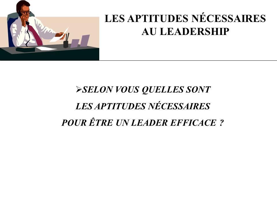 LES APTITUDES NÉCESSAIRES AU LEADERSHIP SELON VOUS QUELLES SONT LES APTITUDES NÉCESSAIRES POUR ÊTRE UN LEADER EFFICACE ?