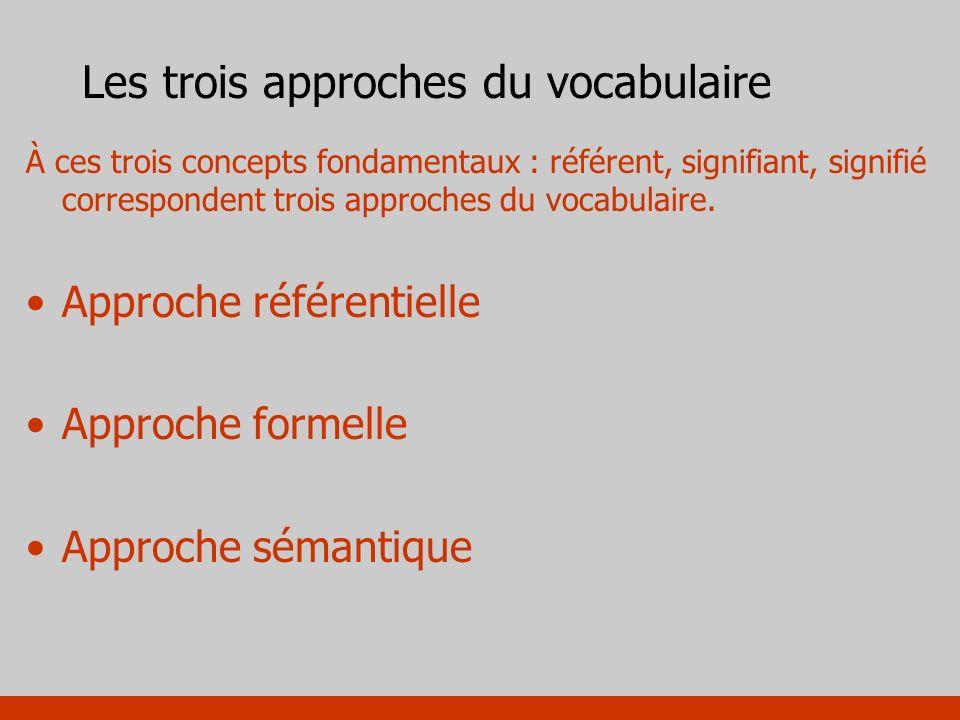 Les trois approches du vocabulaire À ces trois concepts fondamentaux : référent, signifiant, signifié correspondent trois approches du vocabulaire. Ap