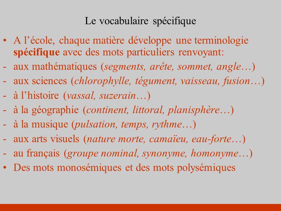 Le vocabulaire spécifique A lécole, chaque matière développe une terminologie spécifique avec des mots particuliers renvoyant: -aux mathématiques (seg