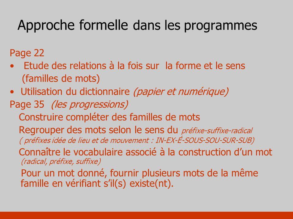 Approche formelle dans les programmes Page 22 Etude des relations à la fois sur la forme et le sens (familles de mots) Utilisation du dictionnaire (pa