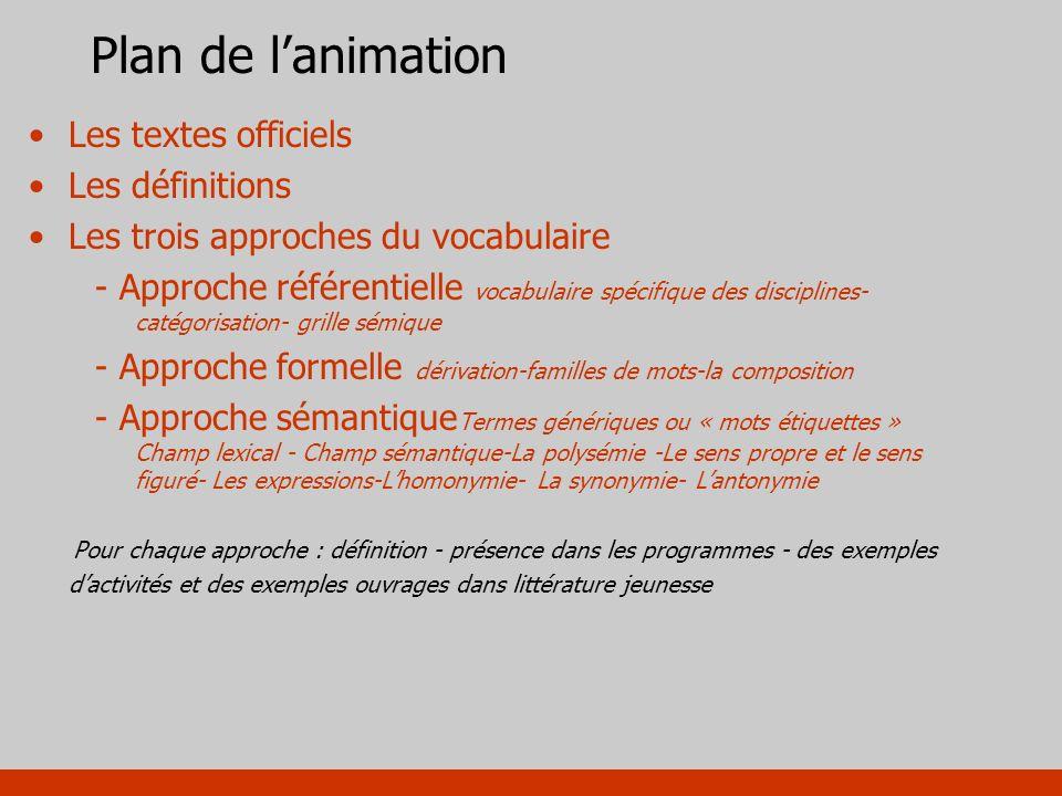 Plan de lanimation Les textes officiels Les définitions Les trois approches du vocabulaire - Approche référentielle vocabulaire spécifique des discipl