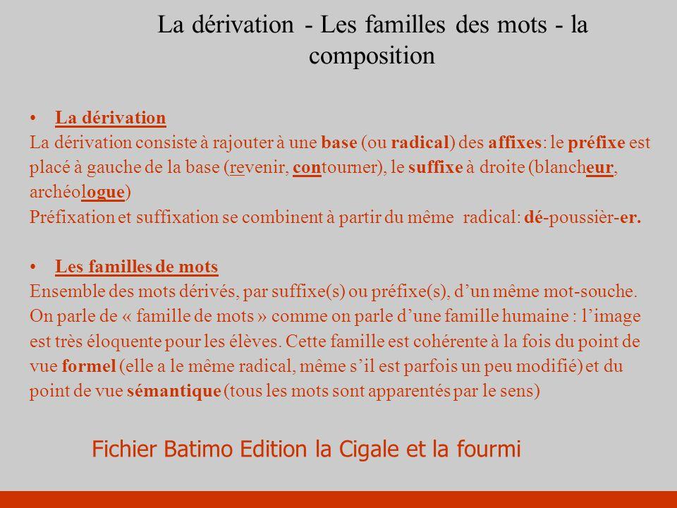 La dérivation - Les familles des mots - la composition La dérivation La dérivation consiste à rajouter à une base (ou radical) des affixes: le préfixe