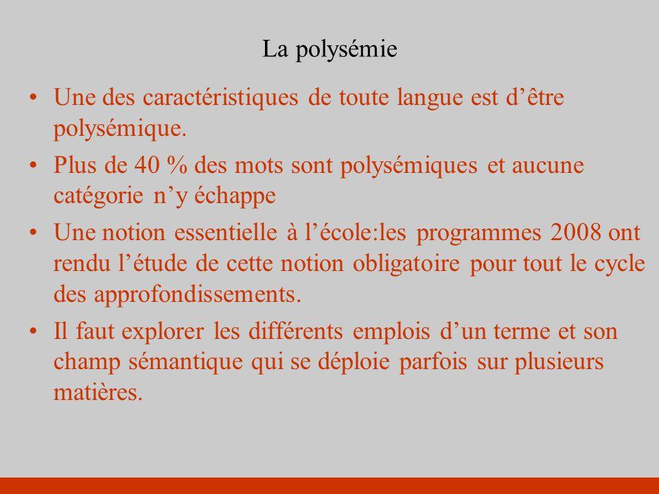 La polysémie Une des caractéristiques de toute langue est dêtre polysémique. Plus de 40 % des mots sont polysémiques et aucune catégorie ny échappe Un