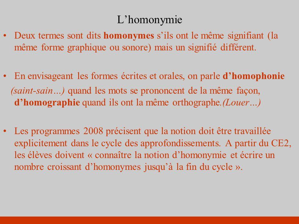 Lhomonymie Deux termes sont dits homonymes sils ont le même signifiant (la même forme graphique ou sonore) mais un signifié différent. En envisageant