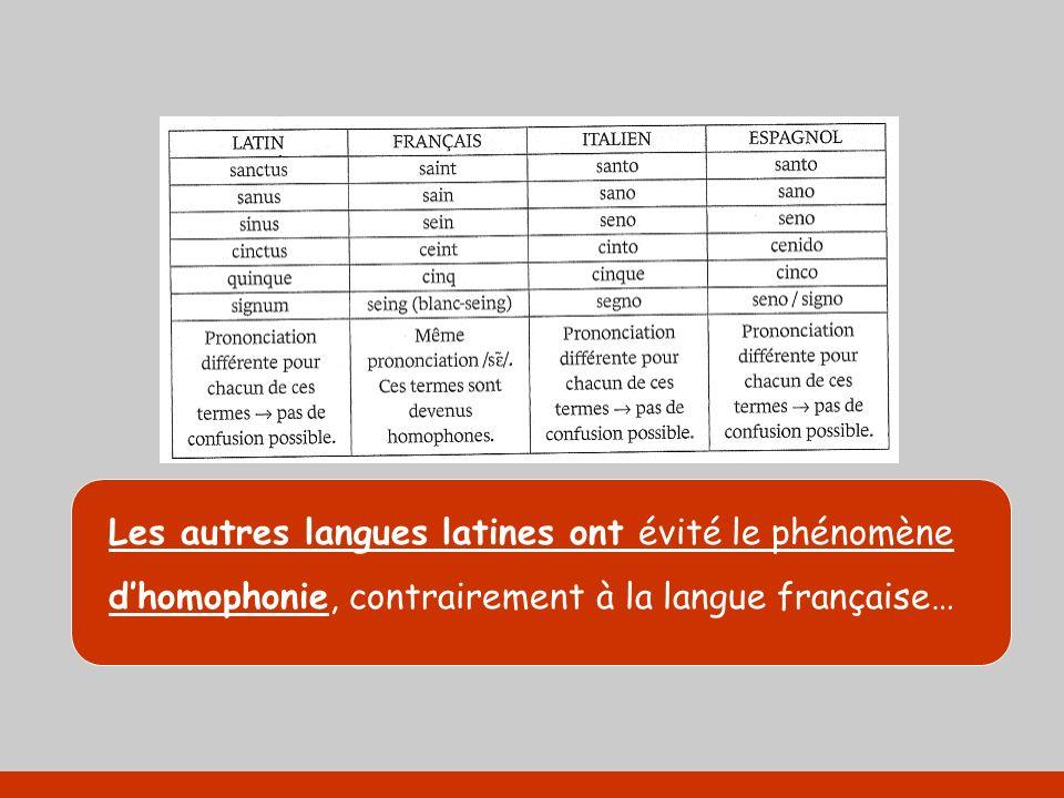 Les autres langues latines ont évité le phénomène dhomophonie, contrairement à la langue française…