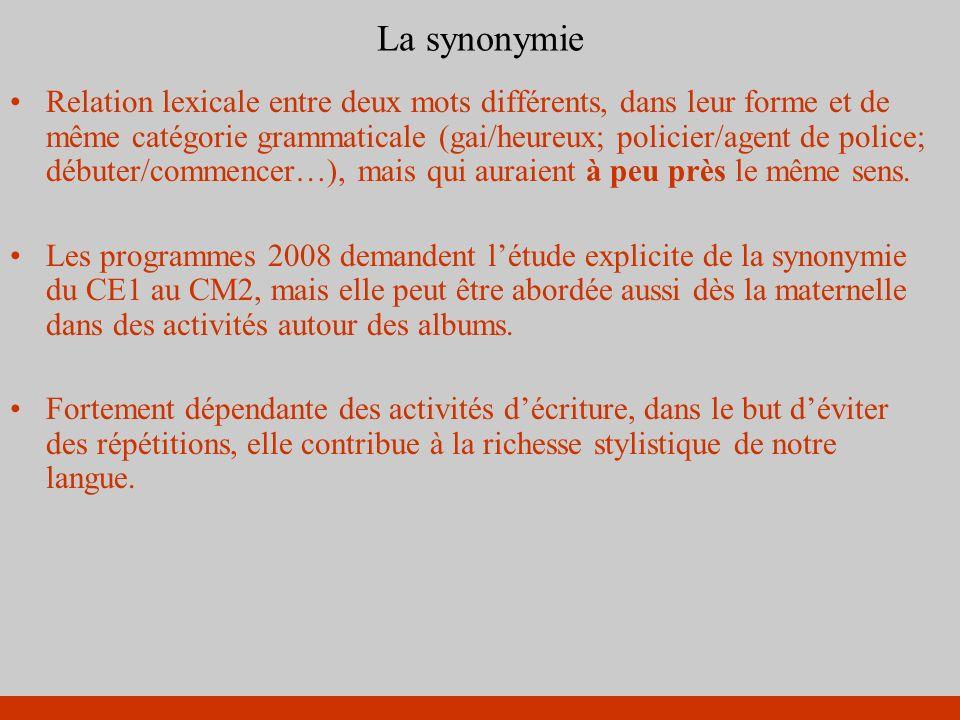 La synonymie Relation lexicale entre deux mots différents, dans leur forme et de même catégorie grammaticale (gai/heureux; policier/agent de police; d