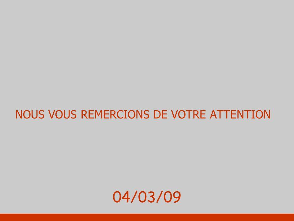 NOUS VOUS REMERCIONS DE VOTRE ATTENTION 04/03/09