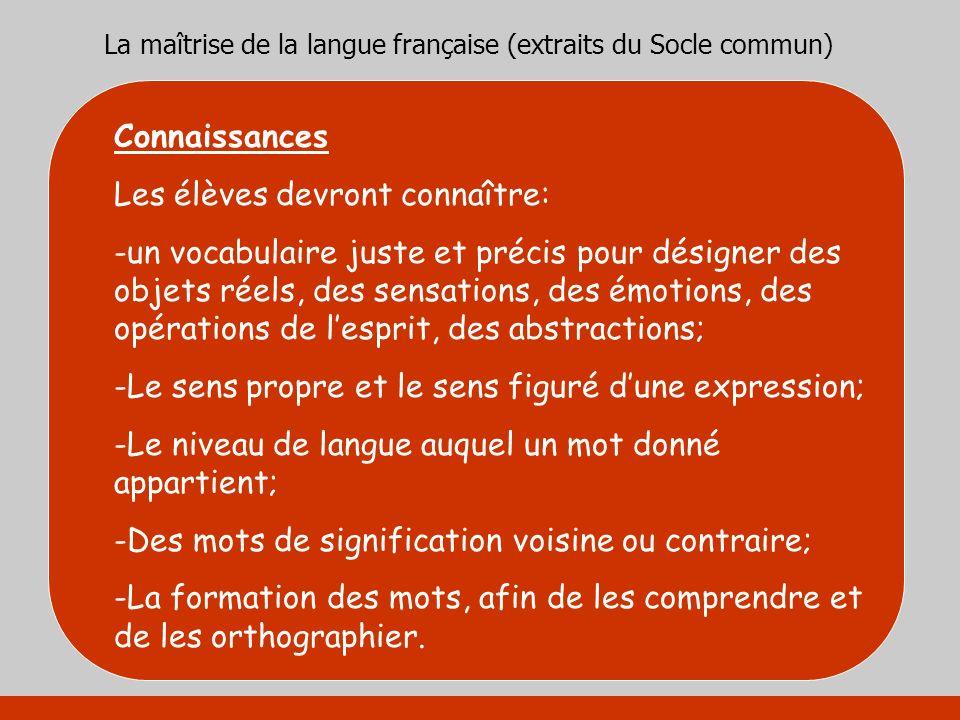 La maîtrise de la langue française (extraits du Socle commun) Connaissances Les élèves devront connaître: -un vocabulaire juste et précis pour désigne
