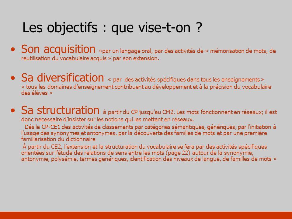 Les objectifs : que vise-t-on ? Son acquisition «par un langage oral, par des activités de « mémorisation de mots, de réutilisation du vocabulaire acq