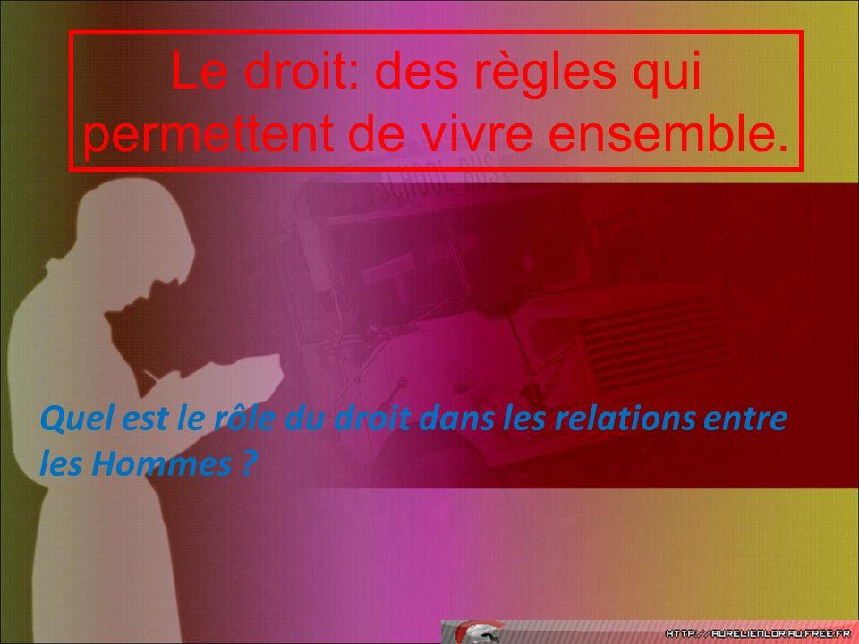 Le droit: des règles qui permettent de vivre ensemble. Quel est le rôle du droit dans les relations entre les Hommes ?