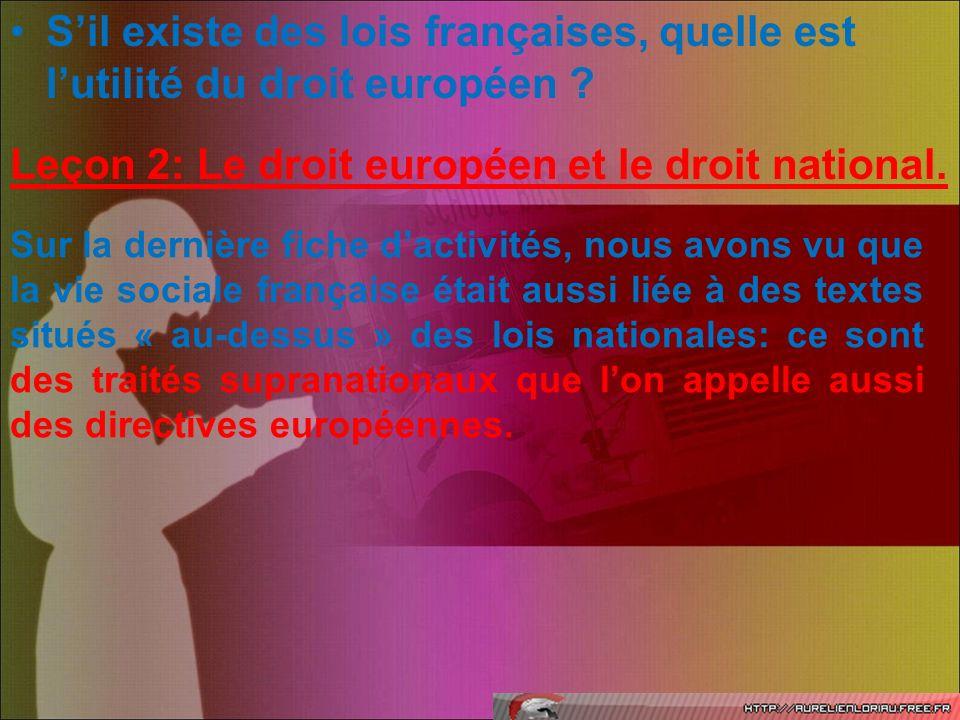 Sil existe des lois françaises, quelle est lutilité du droit européen ? Leçon 2: Le droit européen et le droit national. Sur la dernière fiche dactivi