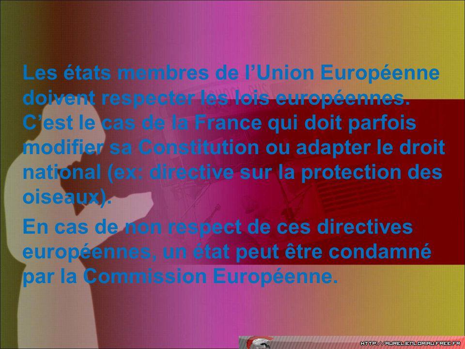 Les états membres de lUnion Européenne doivent respecter les lois européennes. Cest le cas de la France qui doit parfois modifier sa Constitution ou a