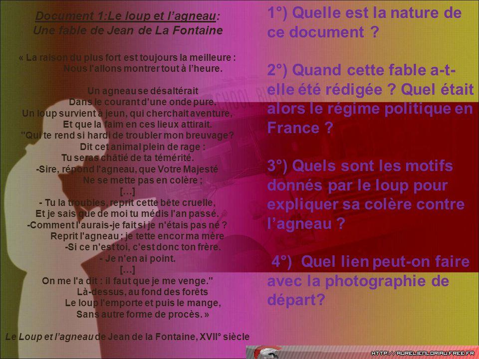 Document 1:Le loup et lagneau: Une fable de Jean de La Fontaine « La raison du plus fort est toujours la meilleure : Nous l'allons montrer tout à lheu