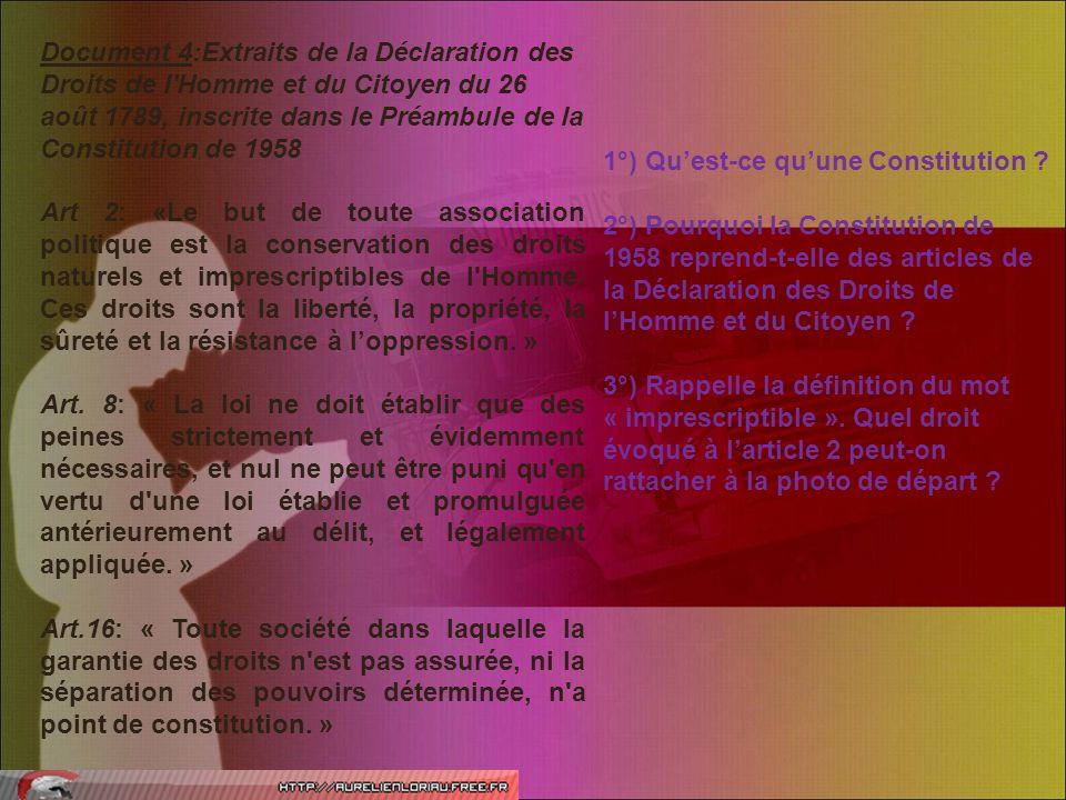 Document 4:Extraits de la Déclaration des Droits de l'Homme et du Citoyen du 26 août 1789, inscrite dans le Préambule de la Constitution de 1958 Art 2