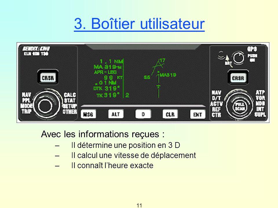 11 3. Boîtier utilisateur Avec les informations reçues : –Il détermine une position en 3 D –Il calcul une vitesse de déplacement –Il connaît lheure ex