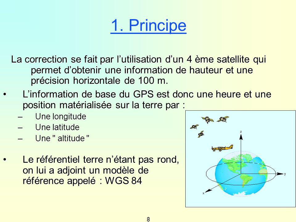 8 1. Principe La correction se fait par lutilisation dun 4 ème satellite qui permet dobtenir une information de hauteur et une précision horizontale d