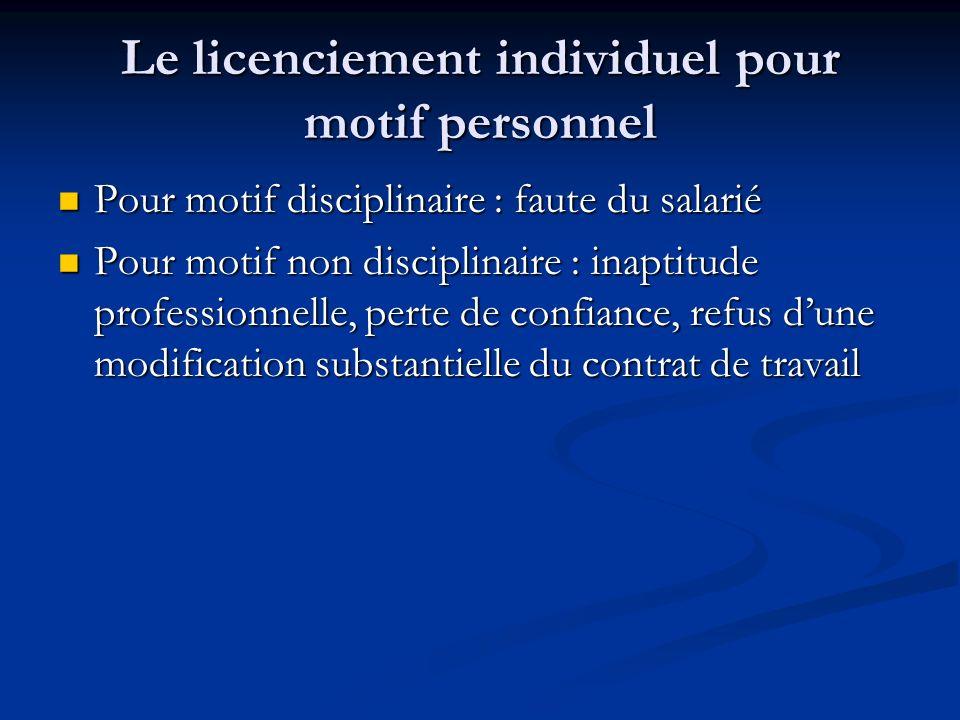 Le licenciement individuel pour motif personnel Pour motif disciplinaire : faute du salarié Pour motif disciplinaire : faute du salarié Pour motif non
