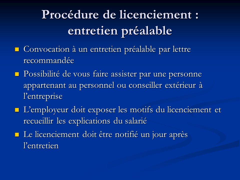 Procédure de licenciement : entretien préalable Convocation à un entretien préalable par lettre recommandée Convocation à un entretien préalable par l
