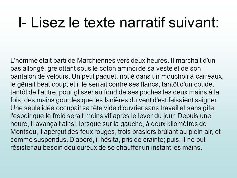 I- Lisez le texte narratif suivant: L'homme était parti de Marchiennes vers deux heures. Il marchait d'un pas allongé, grelottant sous le coton aminci