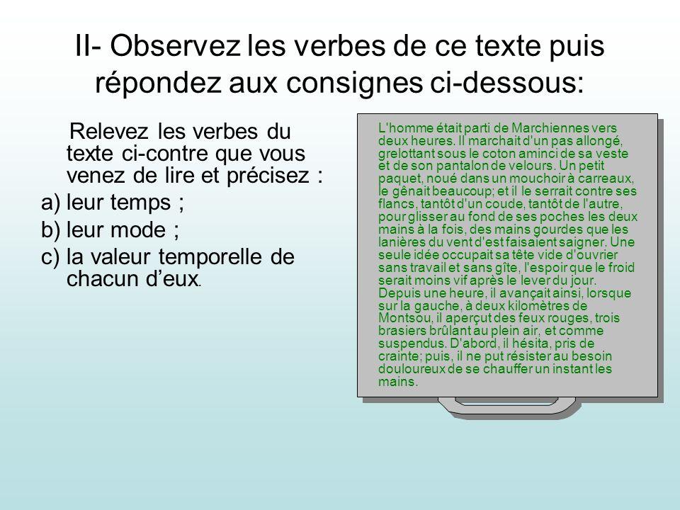 II- Observez les verbes de ce texte puis répondez aux consignes ci-dessous: Relevez les verbes du texte ci-contre que vous venez de lire et précisez :