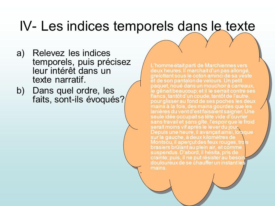 IV- Les indices temporels dans le texte a)Relevez les indices temporels, puis précisez leur intérêt dans un texte narratif. b)Dans quel ordre, les fai