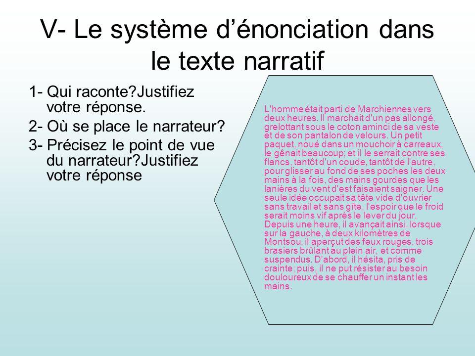 V- Le système dénonciation dans le texte narratif 1- Qui raconte?Justifiez votre réponse. 2- Où se place le narrateur? 3- Précisez le point de vue du
