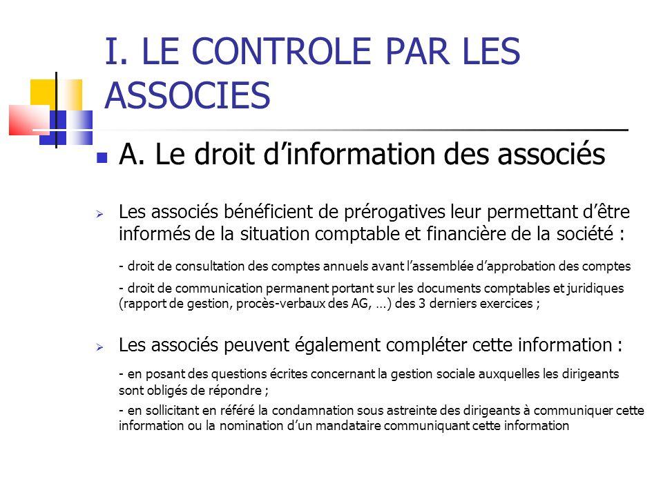 I. LE CONTROLE PAR LES ASSOCIES A.