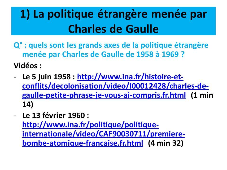 1) La politique étrangère menée par Charles de Gaulle -Le 23 juillet 1965 : http://www.ina.fr/politique/presidents-de-la- republique/video/CAF90046768/monsieur-le-president- leopold-sedar-senghor-et-le-general-de-gaulle.fr.html (2 min 22) http://www.ina.fr/politique/presidents-de-la- republique/video/CAF90046768/monsieur-le-president- leopold-sedar-senghor-et-le-general-de-gaulle.fr.html -Le 13 décembre 1965 : http://www.ina.fr/politique/politique- internationale/video/I00013095/charles-de-gaulle-petite- phrase-une-certaine-idee-de-la-france.fr.html (1 min 24) http://www.ina.fr/politique/politique- internationale/video/I00013095/charles-de-gaulle-petite- phrase-une-certaine-idee-de-la-france.fr.html -Le 14 décembre 1965 : http://www.ina.fr/politique/politique- internationale/video/I00012536/charles-de-gaulle-cabri-l- europe-l-europe.fr.html (21 sec) http://www.ina.fr/politique/politique- internationale/video/I00012536/charles-de-gaulle-cabri-l- europe-l-europe.fr.html
