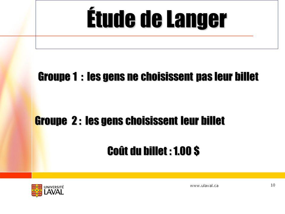 www.ulaval.ca 10 Groupe 2 : les gens choisissent leur billet Coût du billet : 1.00 $ Groupe 1 : les gens ne choisissent pas leur billet Étude de Lange