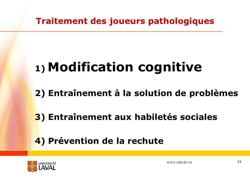 www.ulaval.ca 24 Traitement des joueurs pathologiques 1) Modification cognitive 2) Entraînement à la solution de problèmes 3) Entraînement aux habilet